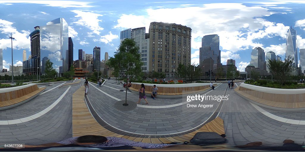 A view of the newly opened Liberty Park in Lower Manhattan, June 29, 2016 in New York City. Liberty Park, elevated above Liberty Street in Lower Manhattan, overlooks the National September 11 Memorial Plaza and One World Trade Center. The one-acre, $50 million park will be open to the public every day from 6 in the morning to 11 at night.