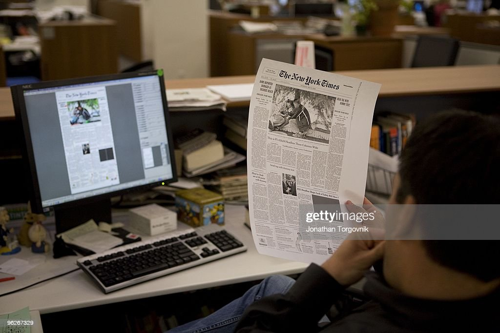 A view of the newsroom after the 4pm page one meeting Tom Bodkin's sketch of the page one content is used as reference for the design and pagination...