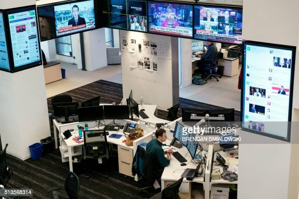 A view of the newsroom in the Washington Post's new building March 3 2016 in Washington DC The Washington Post was founded in 1877 with its first...