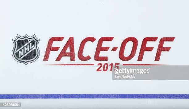 A view of the NHL 2015 FaceOff logo prior to a game between the Philadelphia Flyers and the Florida Panthers on October 12 2015 at the Wells Fargo...