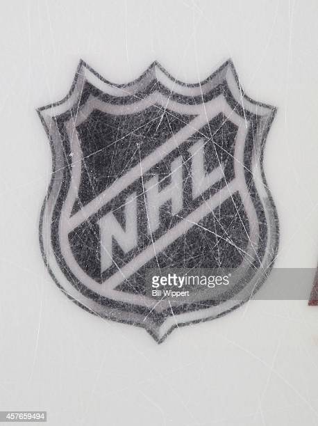 A view of the NHL ice logo during a game between the Buffalo Sabres and the Boston Bruins on October 18 2014 at the First Niagara Center in Buffalo...