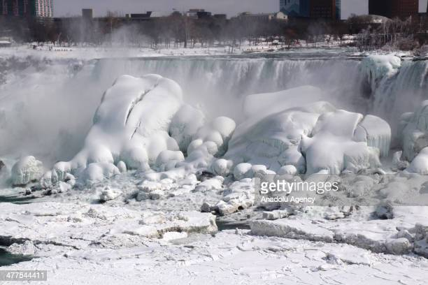 A view of the Niagara Falls frozen over due to the extreme cold weather Canada North America on March 10 2014 The Polar Vortex brought record cold...