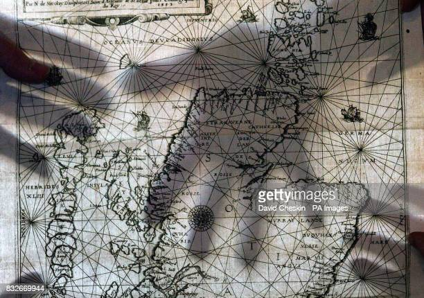 View of the Nicolay Rutter map an ancient map of Scotland which is on display ahead of going up for auction at Lyon and Turnbull auctioneers in...