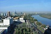 Aerial view of the Nile and Tuti island in Khartoum
