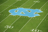 A view of the North Carolina logo prior to a game between the East Carolina Pirates and the North Carolina Tar Heels at Kenan Stadium on September 22...
