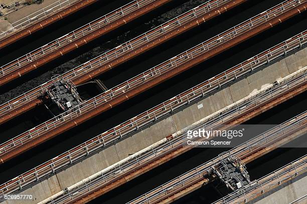 A view of the North Head wastewater treatment plant from a blimp on April 28 2016 in Sydney Australia The Appliances Online blimp is the only...