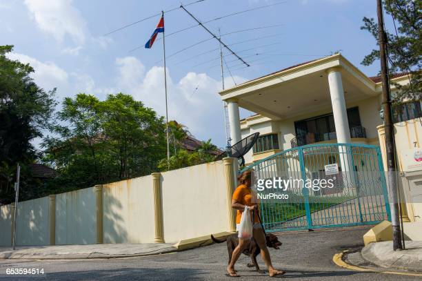View of the North Korean Embassy the woman is walking with her dog on March 15 2017 in Kuala Lumpur Malaysia Malaysia has used DNA sample from one of...