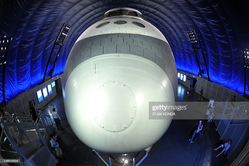 View of the nose of the Space Shuttle Enterprise seen on display at the Intrepid Sea, Air & Space Museum's Space Shuttle Pavilion during a press preview July 18, 2012 in New York. The exhibit will officially open to the public July 19. AFP PHOTO/Stan HONDA