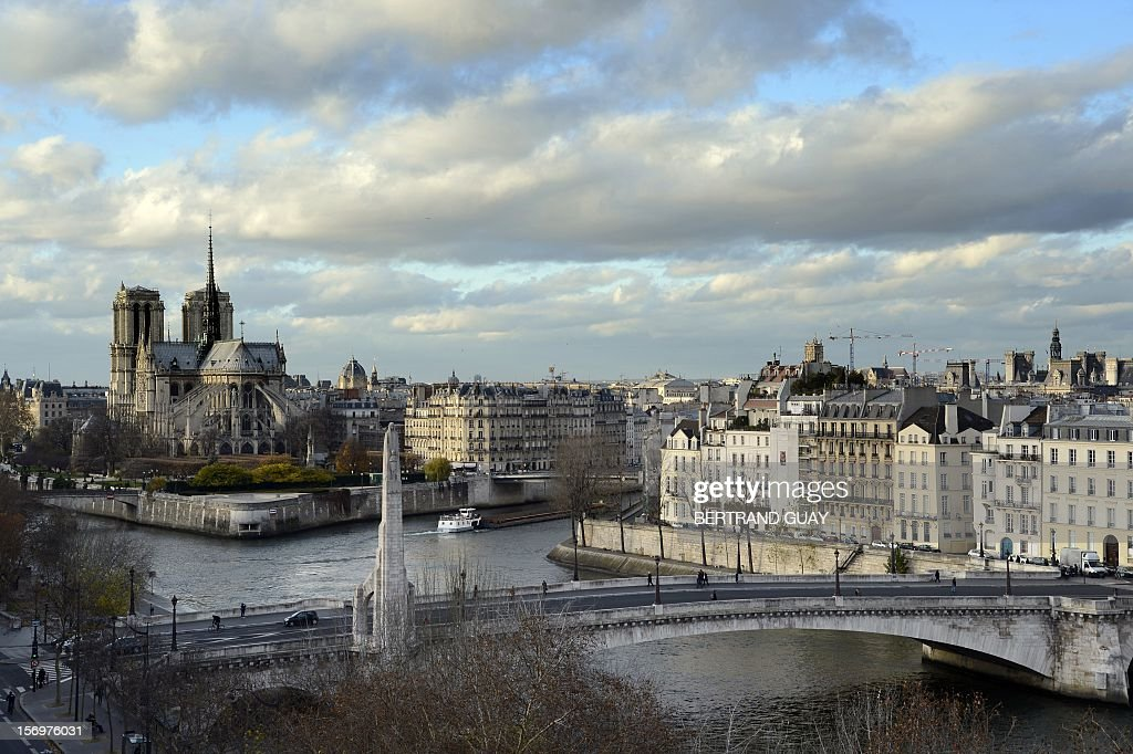 A view of the Notre Dame cathedral by the Seine river in Paris on November 26, 2012. AFP PHOTO / BERTRAND GUAY