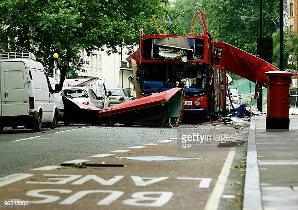 A view of the Number 30 doubledecker bus is seen in Tavistock Square in central London 08 July 2005 The bomb attacks in London that killed at least...