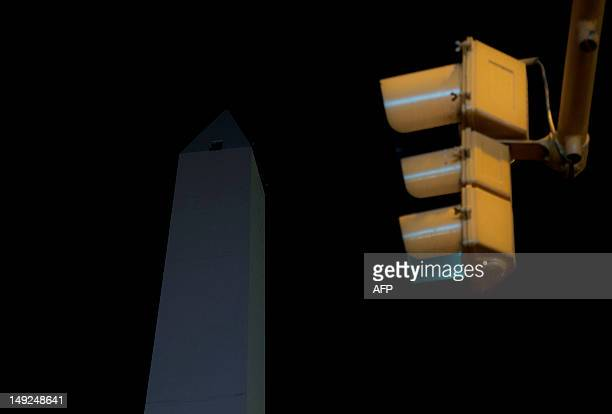 View of the obelisk without illumination in Buenos Aires on July 25 2012 The main squares parks and monuments of the Argentine capital including the...
