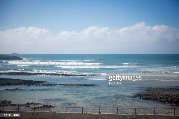 View of the ocean from the protected outdoor area of Mogadishu Airport on May 01 2017 in Mogadischu Somalia