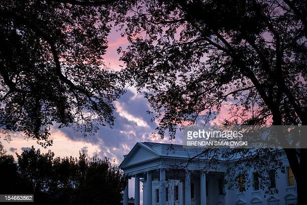 A view of the of the White House early October 24 2012 in Washington DC Republican White House hopeful Mitt Romney and US President Barack Obama...