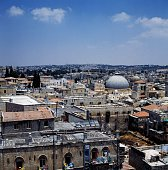 View of the Old City with the domes of the Church of the Holy Sepulchre on the right Jerusalem Israel