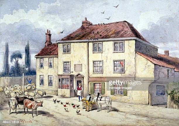 View of the old Pied Bull Inn Islington London c1840 The Old Pied Bull Inn was once the home of Sir Walter Raleigh