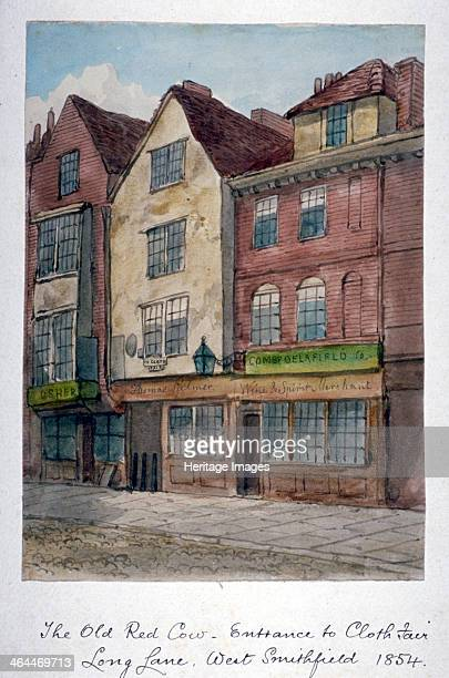 View of the Old Red Cow Inn in Long Lane Smithfield City of London 1854