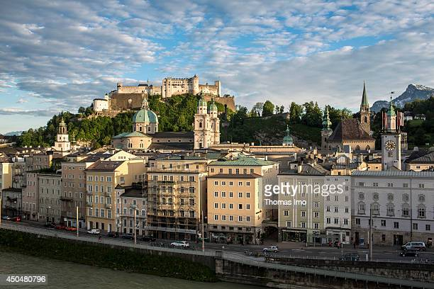 View of the old town of Salzburg and the Hohensalzburg castle on May 19 in Salzburg Austria The old town is internationally renowned for its baroque...