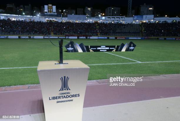 View of the Olimpico Atahualpa stadium in Quito as the arrival of Argentinian Atletico Tucuman is delayed ahead of a Copa Libertadores football match...