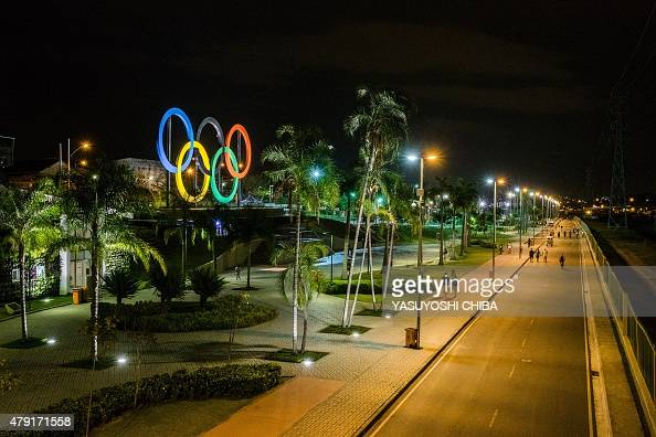 View of the Olympic rings at Madureira Park the third largest park in Rio de Janeiro Brazil on July 1 400 days ahead of the Rio 2016 Olympic games...