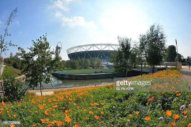 A view of the Olympic Stadium east London before a Pool D match of the 2015 Rugby World Cup between Ireland and Italy on October 4 2015 AFP PHOTO /...