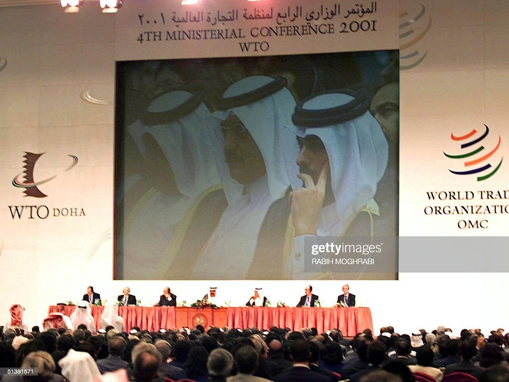 View of the opening session of the World Trade Organization conference in Doha 09 November 2001 The Gulf emirate came close to losing its chance to...