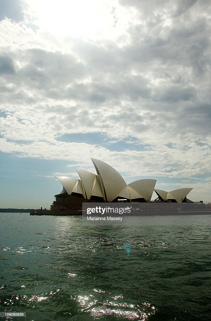 A view of the Opera House and Sydney harbor as the heat of the day sets in on January 8, 2013 in Sydney, Australia. Temperatures are expected to reach as high as 43 degrees around Sydney today.