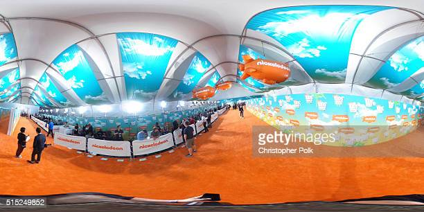 A view of the orange carpet and the Nickelodeon blimp is seen during Nickelodeon's 2016 Kids' Choice Awards at The Forum on March 12 2016 in...