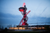 A view of the Orbit Tower in the Queen Elizabeth Olympic Park in Stratford East London