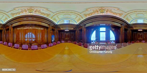 A 360 view of the ornate carved wood panelling and ceiling of the boatrdroom inside The Royal Liver Building on February 21 2017 in Liverpool England...