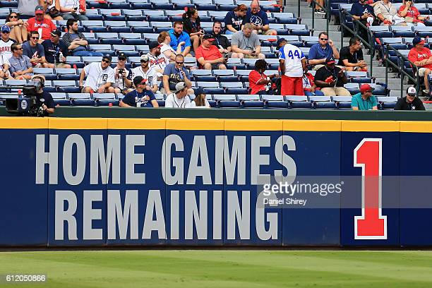 A view of the outfield wall prior to the game between the Atlanta Braves and the Detroit Tigers at Turner Field on October 2 2016 in Atlanta Georgia