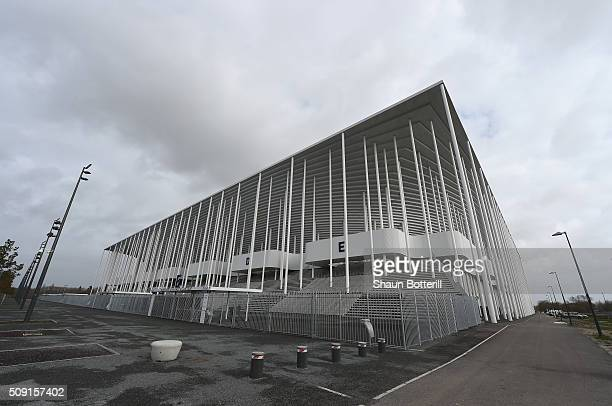 A view of the outside of Nouveau Stade de Bordeaux on February 8 2016 in Bordeaux France