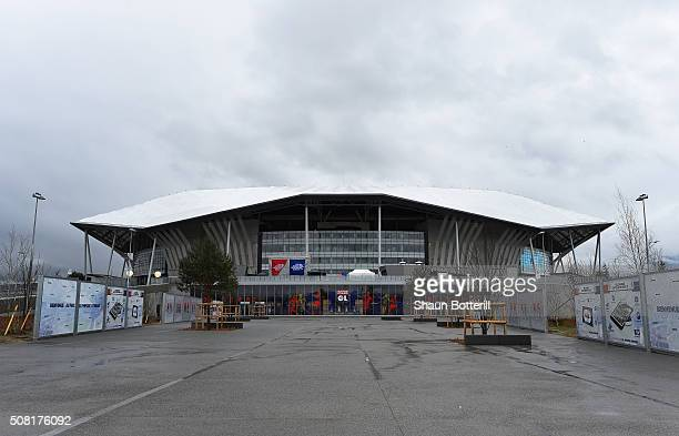 A view of the outside of Stade de Lyon on February 3 2016 in Lyon France