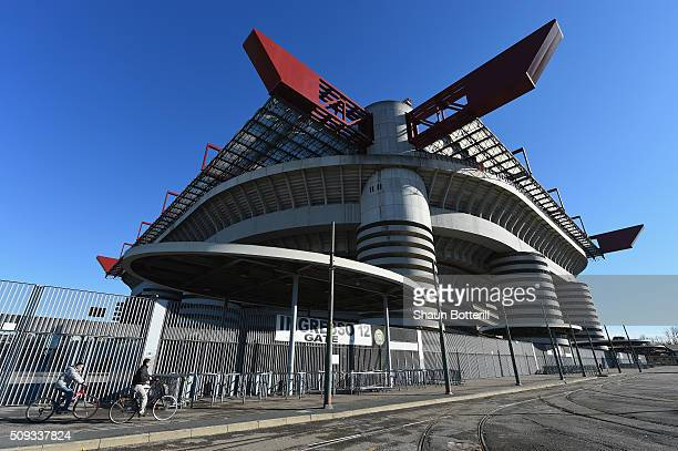 A view of the outside of Stadio Giuseppe Meazza venue for the UEFA Champions League Final 2016 on February 10 2016 in Milan Italy