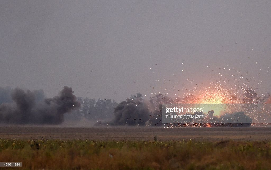 View of the outskirts of Mariupol on September 4 2014 under proRussian separatists heavy artillery action Strong explosions rocked the outskirts of...