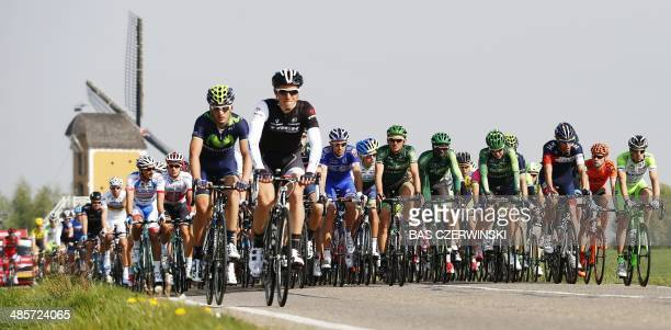 A view of the pack during the 49th edition of the Amstel Gold Race in the province of Limburg the Netherlands on April 20 2014 AFP PHOTO / ANP / BAS...