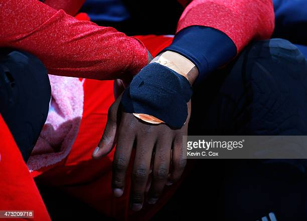 A view of the padding on the injured hand of John Wall of the Washington Wizards during Game Five of the Eastern Conference Semifinals of the 2015...