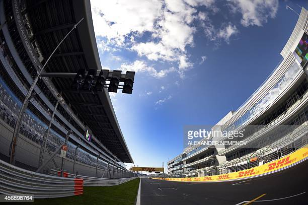 A view of the paddock and a Grand Stand at the F1 Autodrome in Sochi on October 9 2014 ahead of the Russian Formula One Grand Prix Just days after...