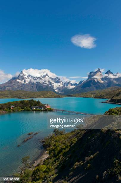 View of the Paine Grande Hill and Cuernos del Paine Mountains in Torres del Paine National Park in southern Chile with Pehoe Lake in foreground