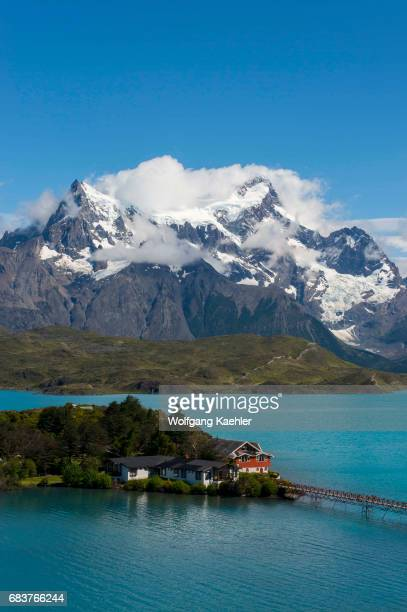 View of the Paine Grande Hill Mountains in Torres del Paine National Park in southern Chile with Pehoe Lake in foreground