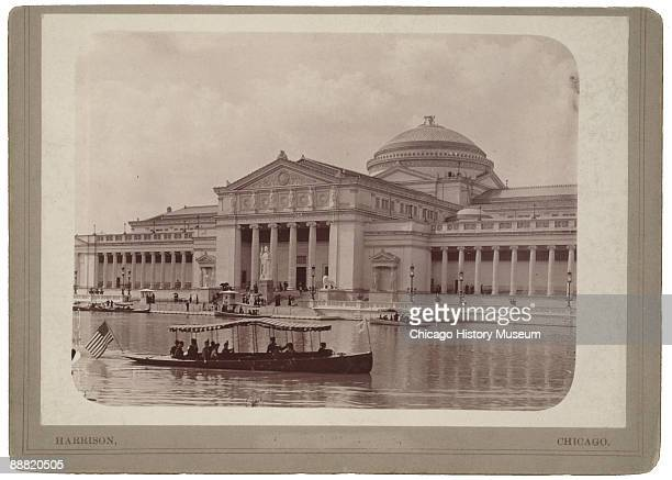 View of the Palace of Fine Arts as viewed across the North Pond during the World's Columbian Exposition or Chicago World's Fair 1893 Visitors can be...