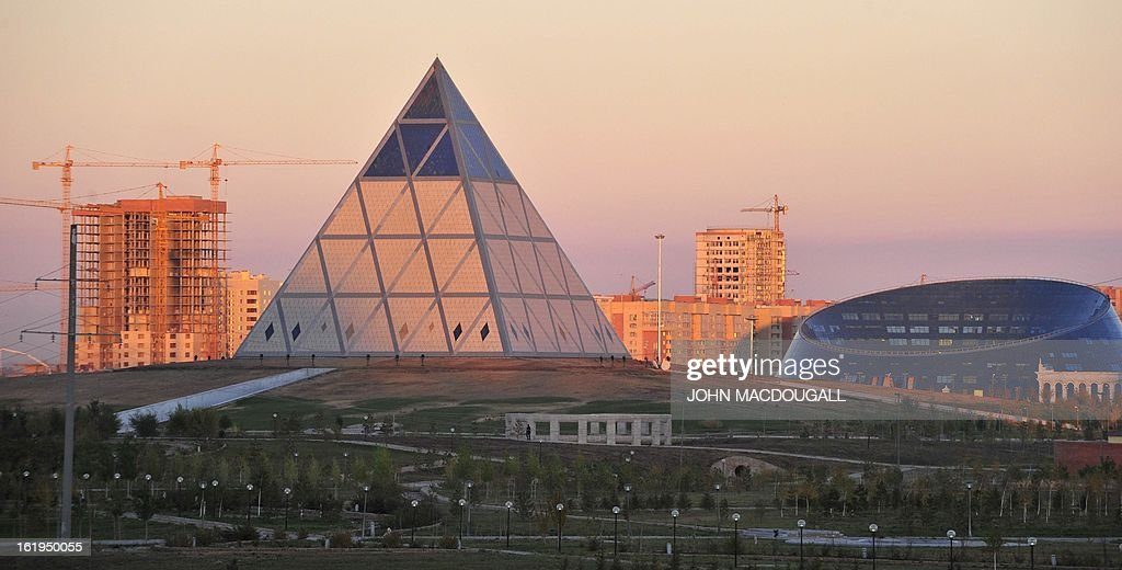 View of The Palace of Peace and Reconciliation and the Shabyt palace of Art in Kazakhstan's capital Astana October 12 2010 The Pyramid was specially...