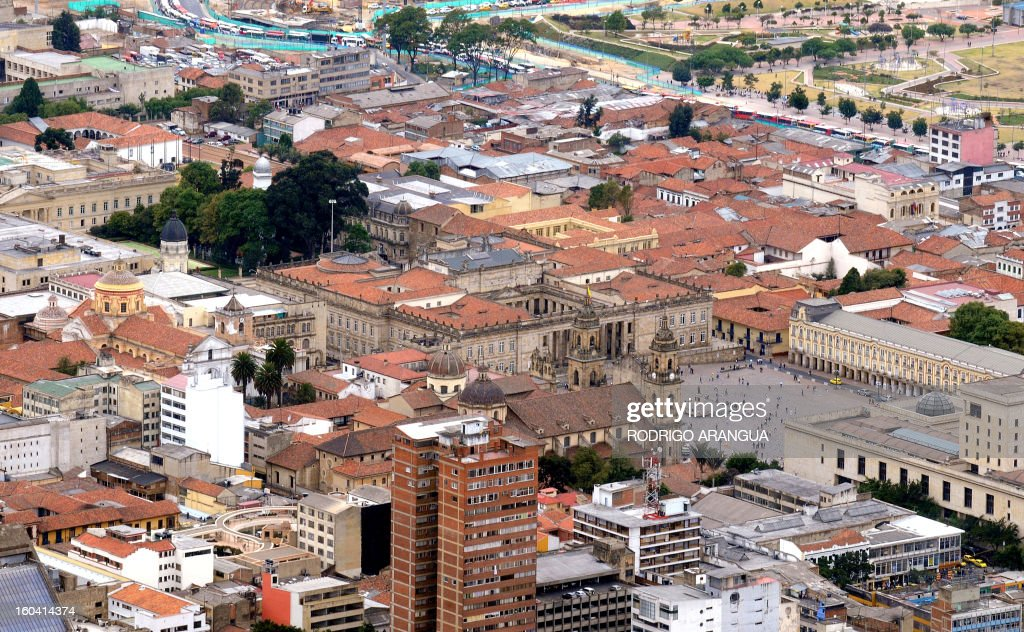 A view of the Palacio de Narino, Bogota City Hall and Colombian Congress on February 9, 2010 in Bogota. AFP PHOTO/Rodrigo ARANGUA /