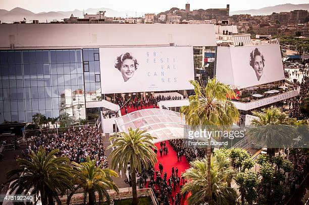 View of the palais des festivals during the opening ceremony and premiere of 'La Tete Haute' during the 68th annual Cannes Film Festival on May 13...