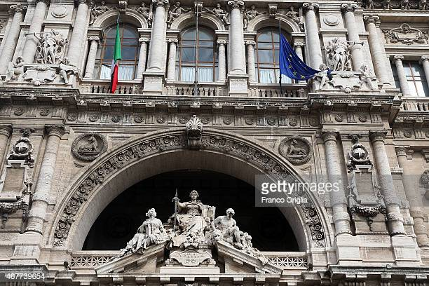 A view of the Palazzo di Giustizia courthouse during the last session for the final verdict of the Amanda Knox and Raffaele Sollecito murder retrial...