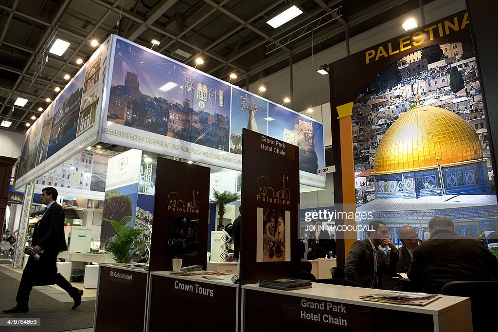 View of the Palestine stand (R) and the Yemen stand (L) at the ITB International Travel Trade Fair in Berlin March 5, 2014. The ITB opens from March 5 to 9, 2014.