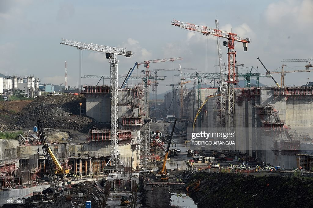View of the Panama Canal locks under construction in Cocoli near Panama City on August 8 2014 Next August 15 marks the 100th anniversary of the...