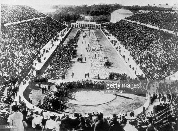 A view of the Panathenaic Stadium in Athens during the opening ceremony of the 1906 Intercalated Games or 1906 Olympic Games