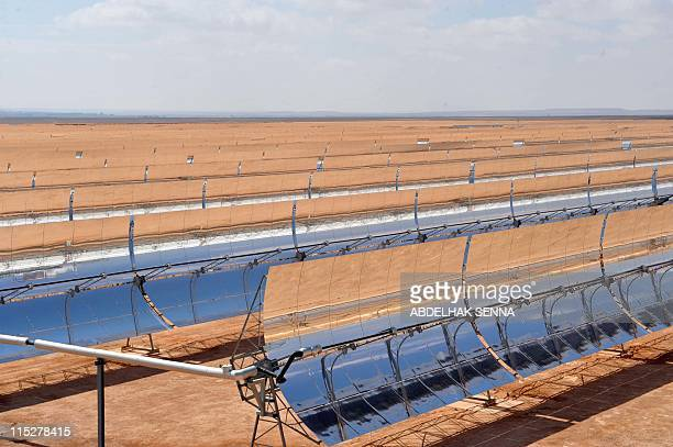 A view of the panels of the solar power station of Ain Beni Mathar near Oujda on May 31 2011 201 The station provides 13% of the Moroccan energy...