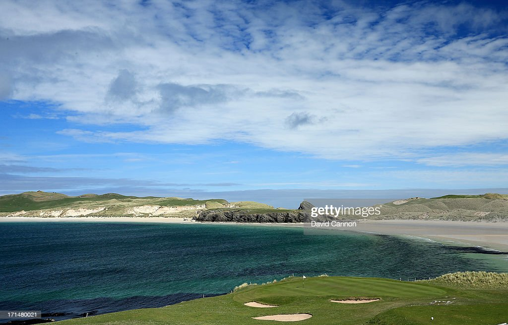 A view of the par 3 9th and 18th hole at the 9 hole Durness Golf Club the most Northern course on the United Kingdom's mainalnd on June 01 2013 in...