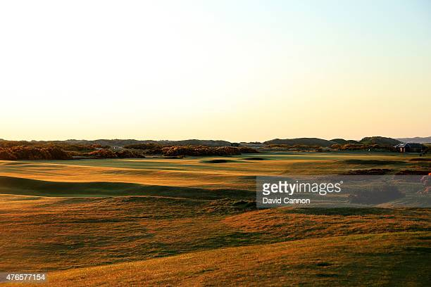 A view of the par 4 9th hole from the 11th tee on the Old Course at St Andrews venue for the 2015 Open Championship on April 21 2015 in St Andrews...